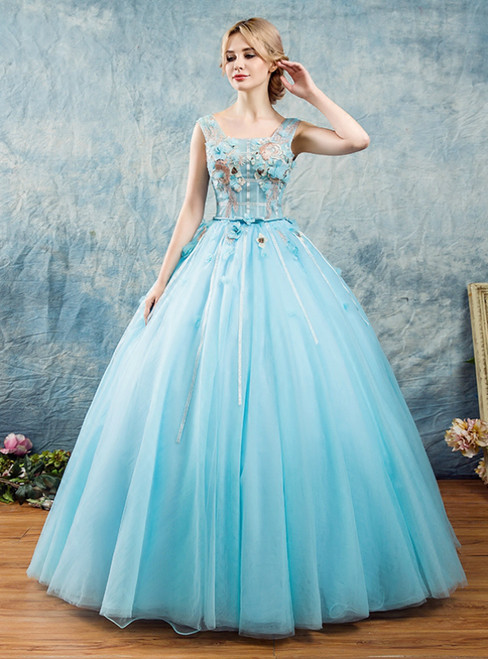 In Stock:Ship in 48 Hours Blue Tulle Appliques Quinceanera Dress
