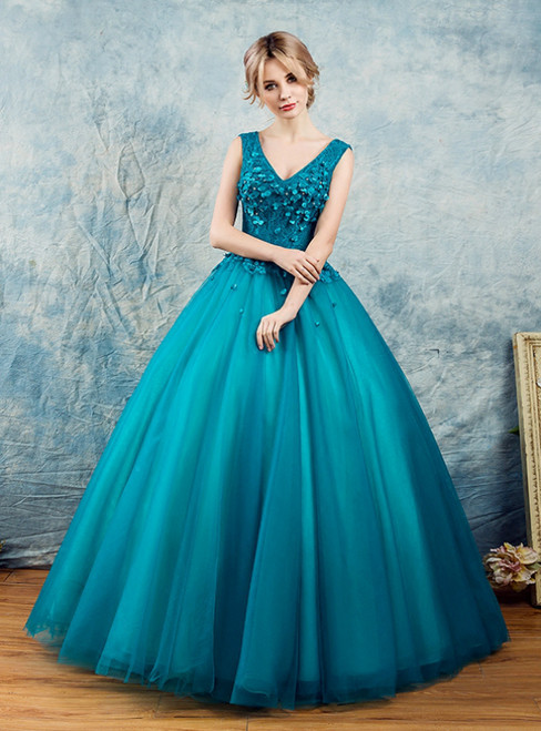 In Stock:Ship in 48 Hours Blue Tulle Lace V-neck Appliques Quinceanera Dress