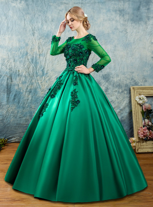In Stock:Ship in 48 Hours Green Ball Gown Satin Long Sleeve Quinceanera Dress