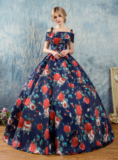 In Stock:Ship in 48 Hours Blue Ball Gown Print Spaghetti Straps Quinceanera Dress