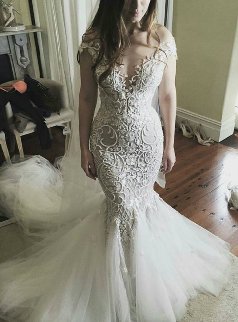 Mermaid Plunging Neck Ivory Lace Mermaid Bridal Wedding Dress