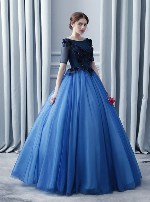In Stock:Ship in 48 Hours Blue Tulle Short Sleeve Quinceanera Dress