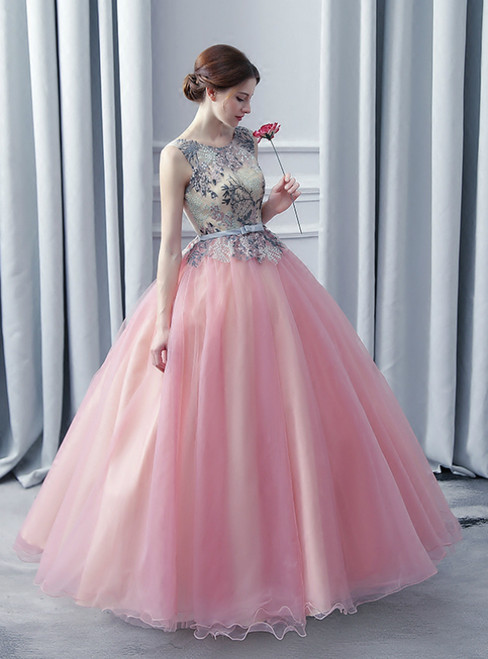 In Stock:Ship in 48 Hours Pink Tulle Embroidery Quinceanera Dress