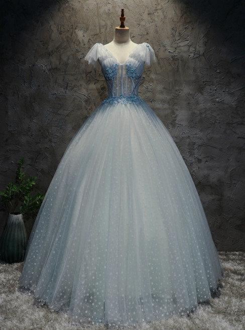 In Stock:Ship in 48 Hours Blue Tulle V-neck Appliques Quinceanera Dresses