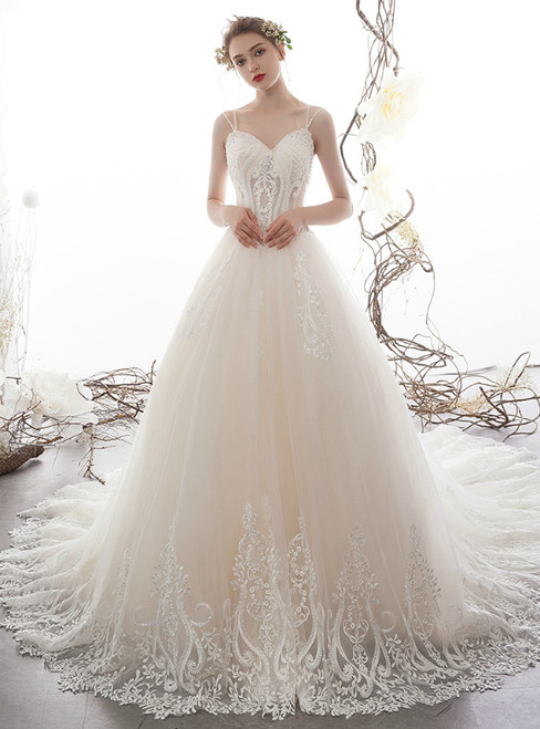 Champagne Tulle Double Straps Lace Appliuqes Wedding Dress With Beading