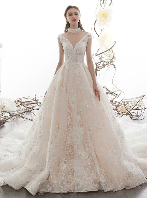 Champagne Tulle Sequins Appliques Deep V-neck Wedding Dress With Beading