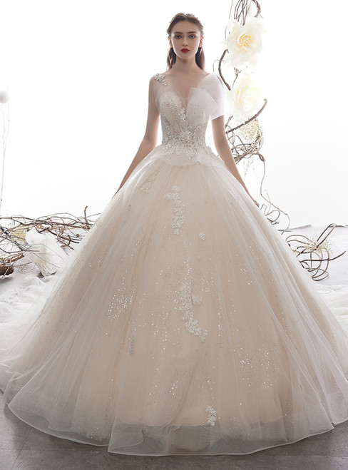 Champagne Tulle Sequins V-neck Backless Appliques Wedding Dress With Beading