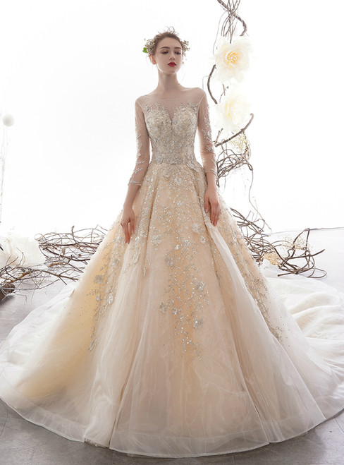 Champagne Tulle Sequins Long Sleeve Backless Appliques Wedding Dress