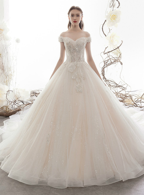 Light Champagne Tulle Sequins Off the Shoulder Wedding Dress With Beading