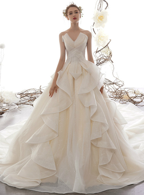 Champagne Ball Gown Tulle Sequins Strapless Wedding Dress With Train