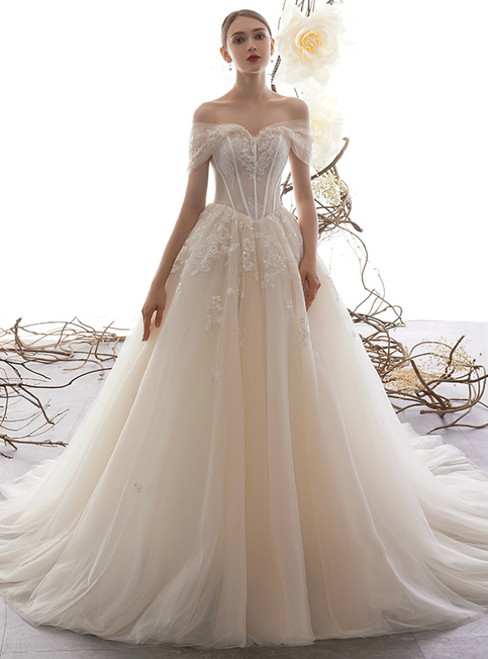 Fashion Champagne Tulle Appliques Off the Shoulder Wedding Dress With Beading