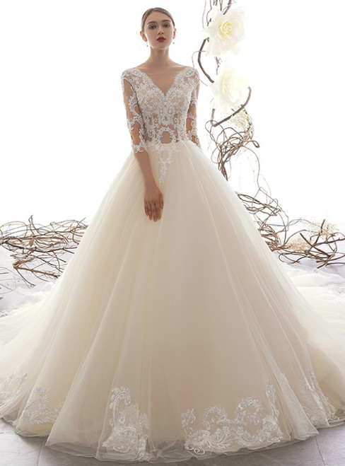 Champagne Tulle Lace Appliques Half Sleeve See Through Wedding Dress