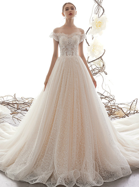 Champagne Tulle Sequins Lace Off the Shoulder Appliques Wedding Dress With Train