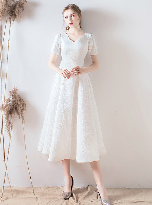 In Stock:Ship in 48 Hours White Lace V-neck Short Sleeve Tea Length Wedding Dress