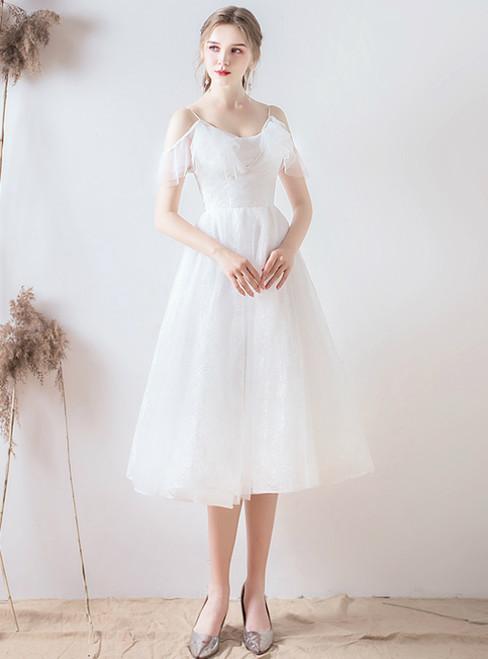 In Stock:Ship in 48 Hours White Tulle Spaghetti Straps Knee Length Wedding Dress