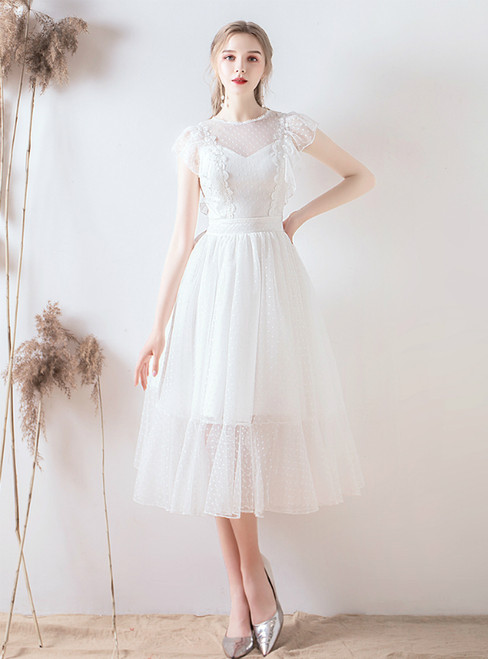 In Stock:Ship in 48 Hours White Tulle Short Tea Length Wedding Dress