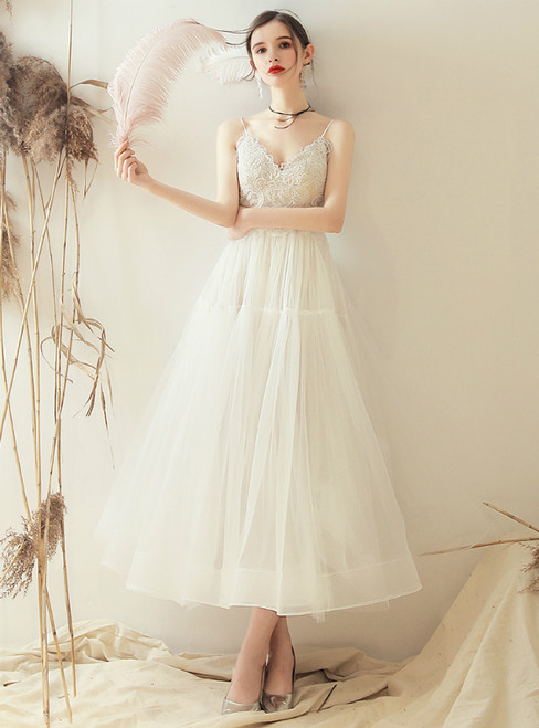 In Stock:Ship in 48 Hours Champagne Tulle Lace Tea Length Wedding Dress