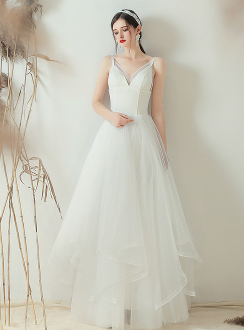In Stock:Ship in 48 Hours White Tulle V-neck Long Wedding Dress