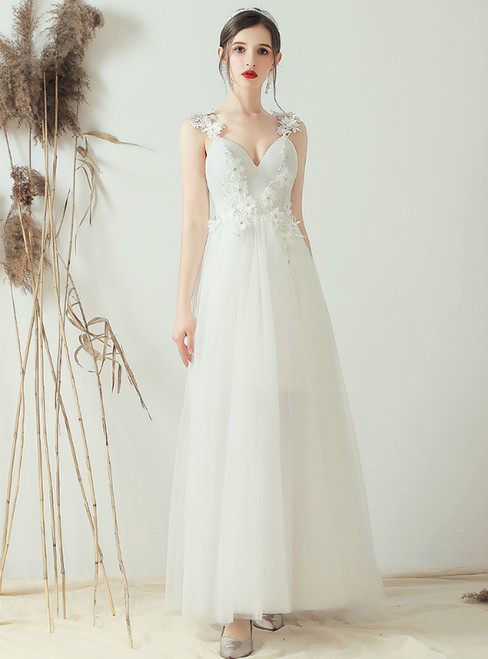 In Stock:Ship in 48 Hours White Tulle V-neck Appliques Wedding Dress