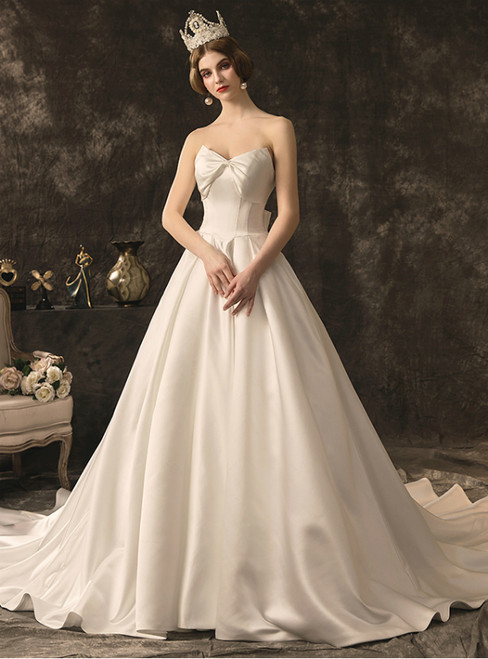 Simple White Satin Sweetheart Corset Wedding Dress With Bow
