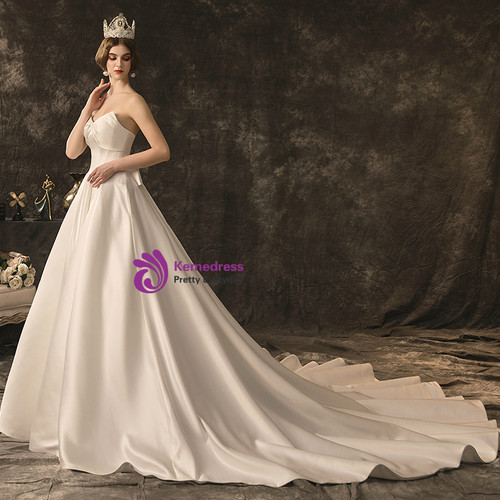 Corset Wedding Dresses.Simple White Satin Sweetheart Corset Wedding Dress With Bow