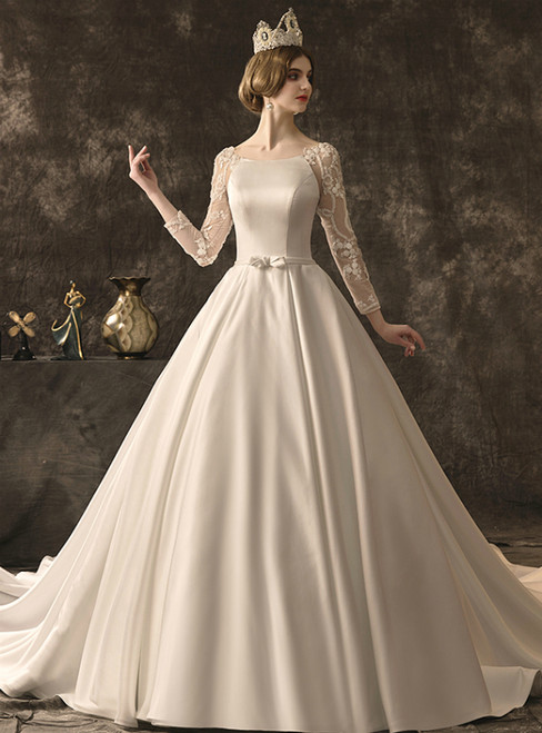 White Ball Gown Satin Long Sleeve Wedding Dress With Beading