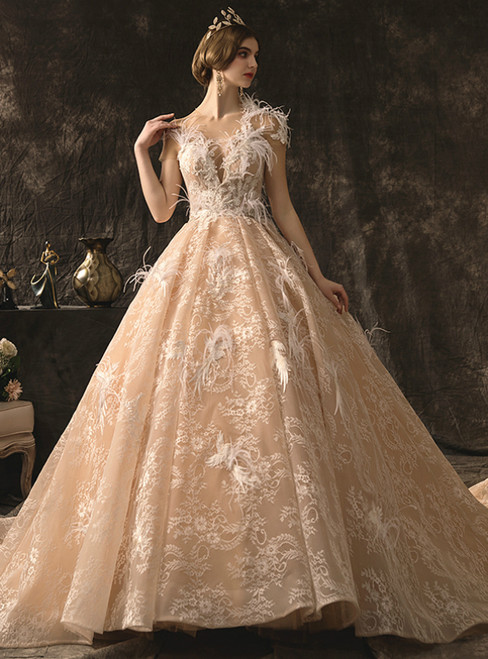 Champagne Tulle Lace Cap Sleeve Beading Feather Backless Wedding Dress