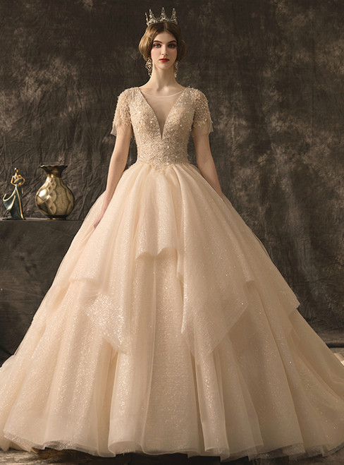 Champagne Tulle Sequins Short Sleeve See Through V-neck Wedding Dress With Beading