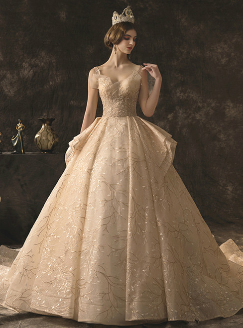 Champagne Tulle Lace V-neck Backless Wedding Dress With Beading