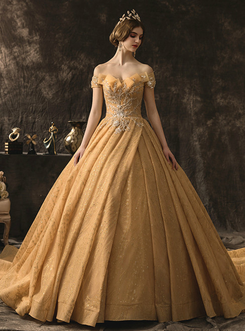 Champagne Gold Tulle Sequins Off the Shoulder Beading Wedding Dress With Train