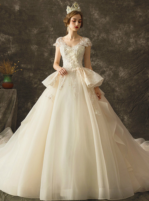 Champagne Tulle V-neck Cap Sleeve Backless Wedding Dress With Beading