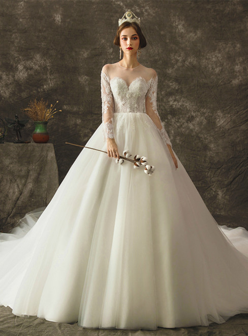 White Tulle Appliques Long Sleeve Wedding Dress With Beading