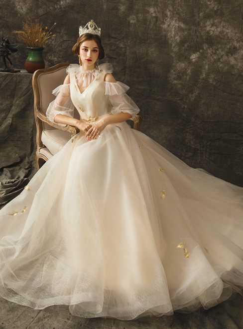 A-Line Champagne Tulle V-neck Cold Shoulder Half Sleeve Wedding Dress
