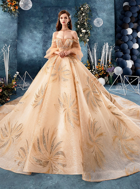 Champagne Gold Tulle Sequins Off the Shoulder Puff Sleeve Wedding Dress With Beading