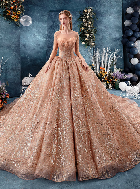 Champagne Gold Ball Gown Sequins Long Sleeve Wedding Dress With Long Train