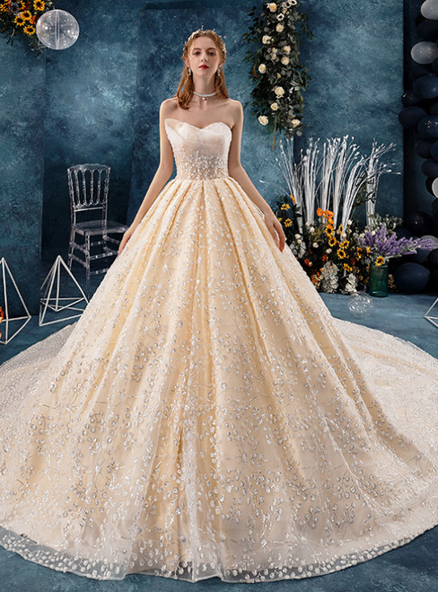 Champagne Tulle Sequins Sweetheart Wedding Dress With Train