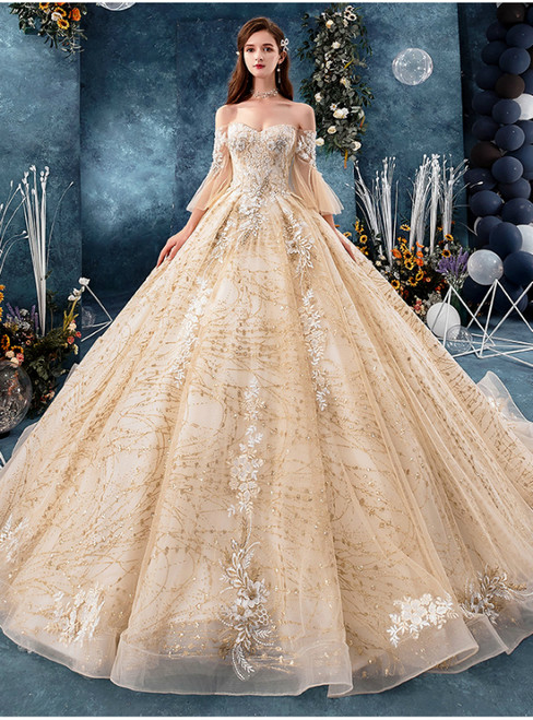 Champagne Tulle Sequins Off the Shoulder Butterfly Sleeve Appliques Wedding Dress