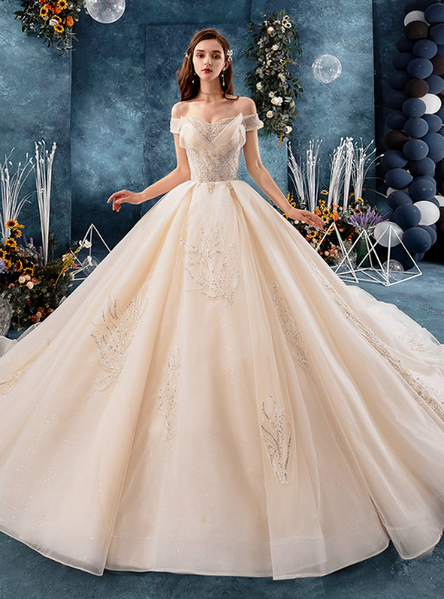 Champagne Tulle Off the Shoulder Appliques Wedding Dress With Beading