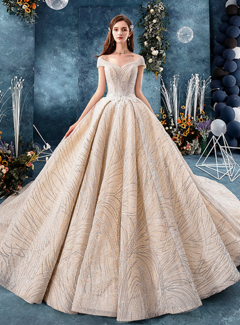 Fashion Champagne Tulle Sequins Off the Shoulder Wedding Dress With Beading