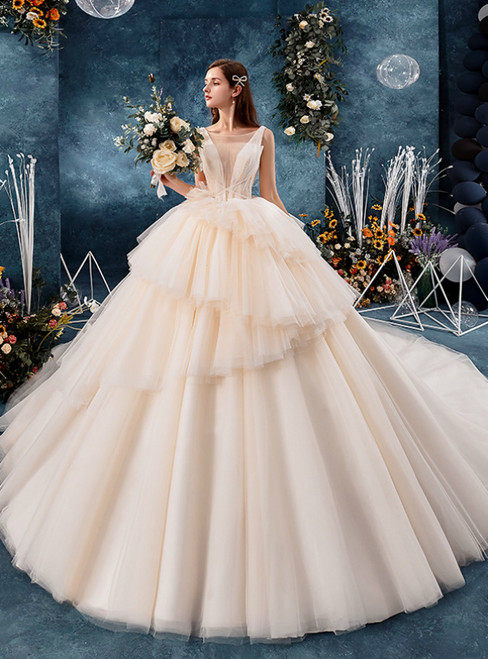 Champagne Tulle See Through V-neck Wedding Dress With Beading