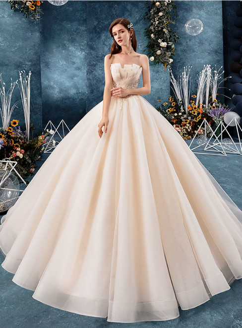 Champagen Tulle Strapless Lace Appliques Floor Length Wedding Dress