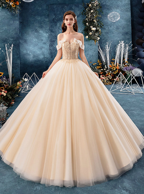 Champagne Tulle Off the Shoulder Corset Floor Length Wedding Dress With Beading