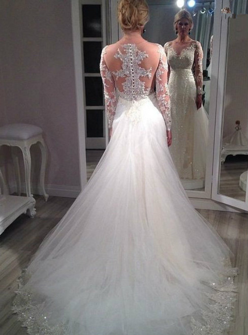 Custom Made New Fashionable A Line Long Sleeve Lace Wedding Dresses 2017