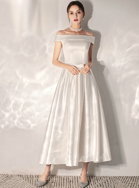 In Stock:Ship in 48 Hours White Satin Off the Shoulder Wedding Dress