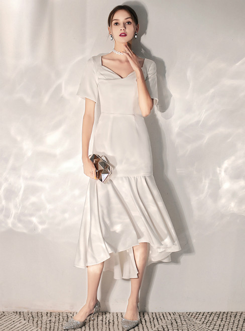 In Stock:Ship in 48 Hours White Satin V-neck Short Sleeve Hi Lo Wedding Dress