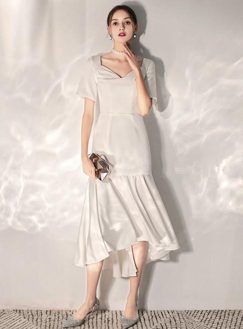 In Stock:Ship in 48 Hours White Satin V-neck Short Sleeve Hi Lo Wedding Dress