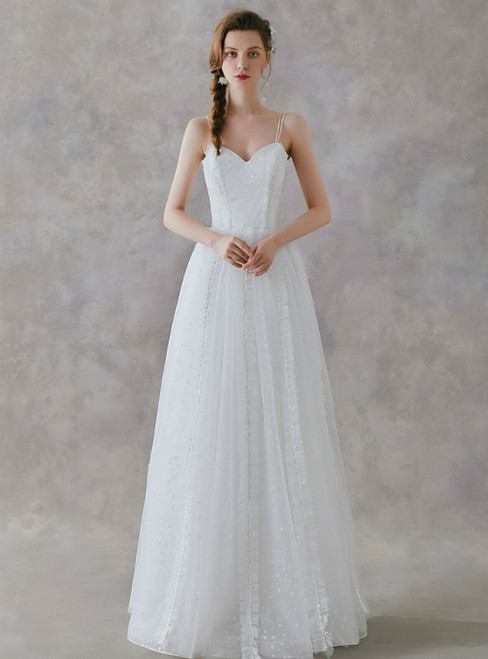 In Stock:Ship in 48 Hours A-Line White Tulle Spaghetti Straps Wedding Dress