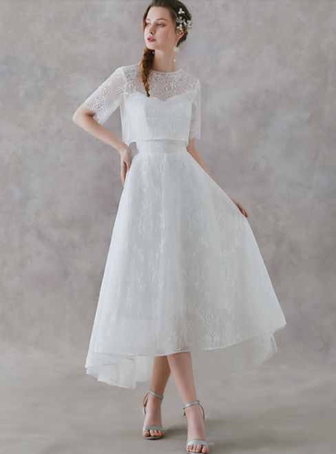 In Stock:Ship in 48 Hours White Lace Two Piece Hi Lo Wedding Dress