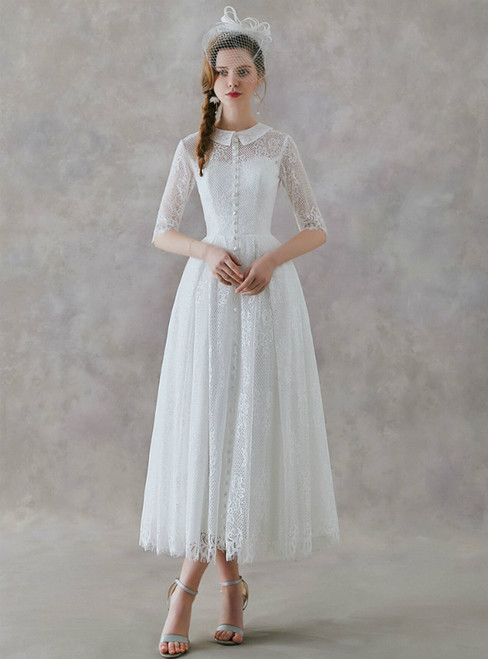 In Stock:Ship in 48 Hours White Lace Short Sleeve Tea Length Wedding Dress