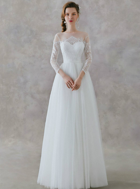 In Stock:Ship in 48 Hours White Tulle Lace Long Sleeve Long Wedding Dress